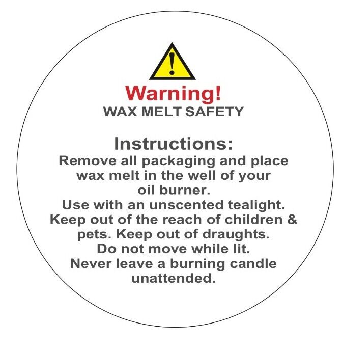 200 wax melt warning labels safety labels stickers 38mm. Black Bedroom Furniture Sets. Home Design Ideas