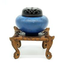 ANTIQUE JAPANESE CHINESE BLUE MATTE GLAZED CENSER KORO ON WOOD STAND