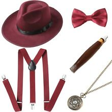 1920s Mens Gatsby Costume Accessories Set 20s Manhattan Fedora Hat Suspenders