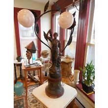 """French Figural Lamp, """"Vendanges"""" (The Grape Harvest) by Ruchot; SIGNED"""