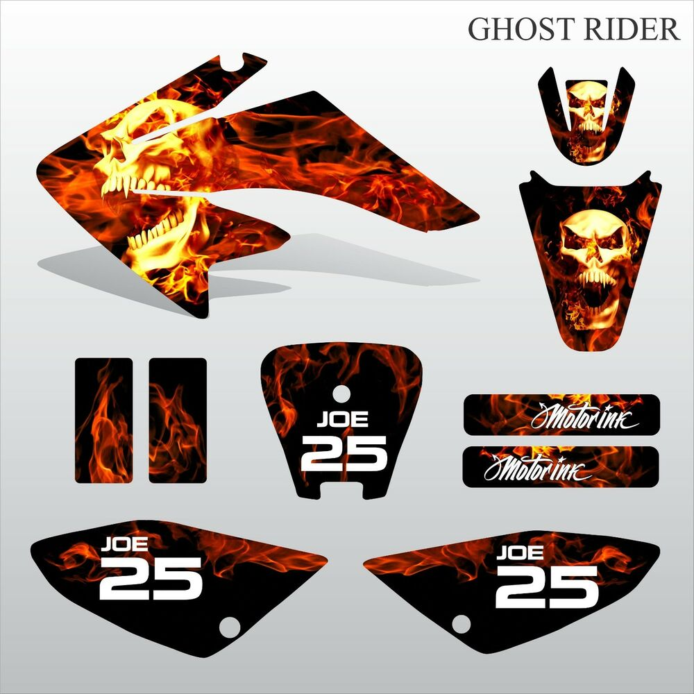Details about honda crf 70 80 100 2002 2012 ghost rider motocross decals set mx graphics kit