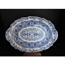Chinese Blue and White Platter with Birds, 6 Character Mark, Staple Repair