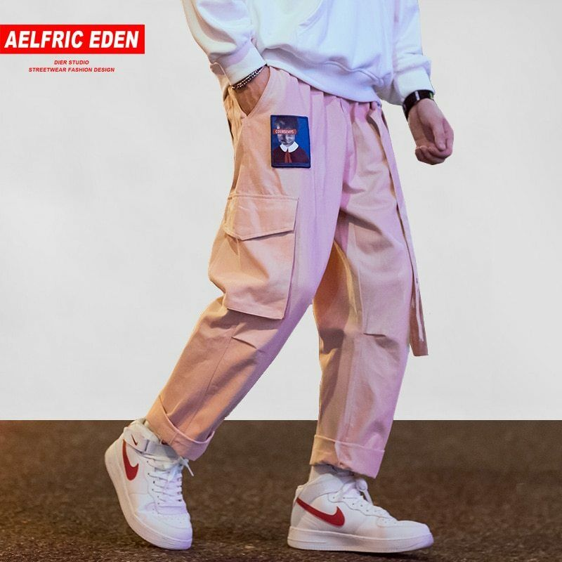 Men's Clothing Military Chinese Letter Embroidery Cargo Pants Multi-pocket Joggers Ribbon Army Track Tactical Trousers Men Hip Hop Streetwear Cargo Pants