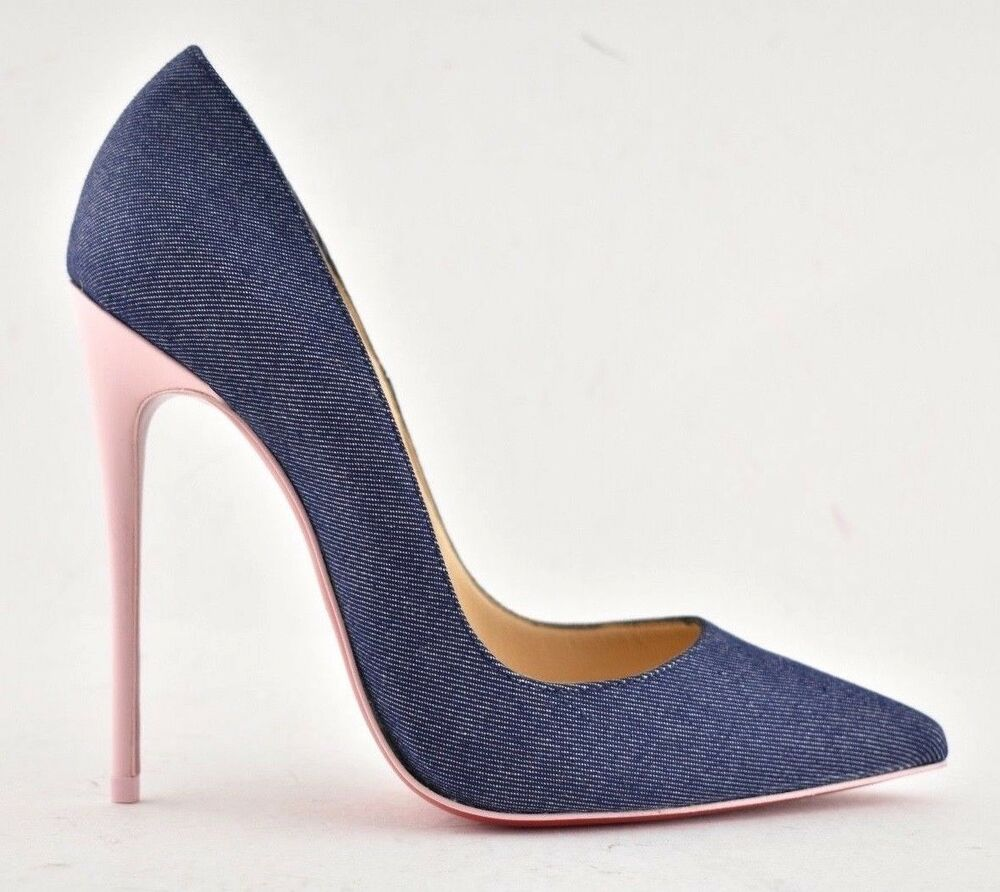 a9897052f529 Details about NIB Christian Louboutin So Kate 120 Blue Denim Pink Patent  Leather Heel Pump 38