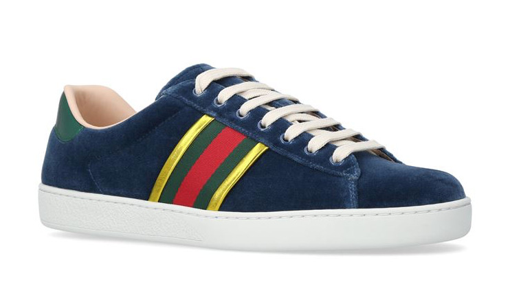 77371959ef26 Details about NIB Gucci Mens New Ace Velvet Blue Red Gold Lace Up Low Top  Sneaker G 7.5 8.5