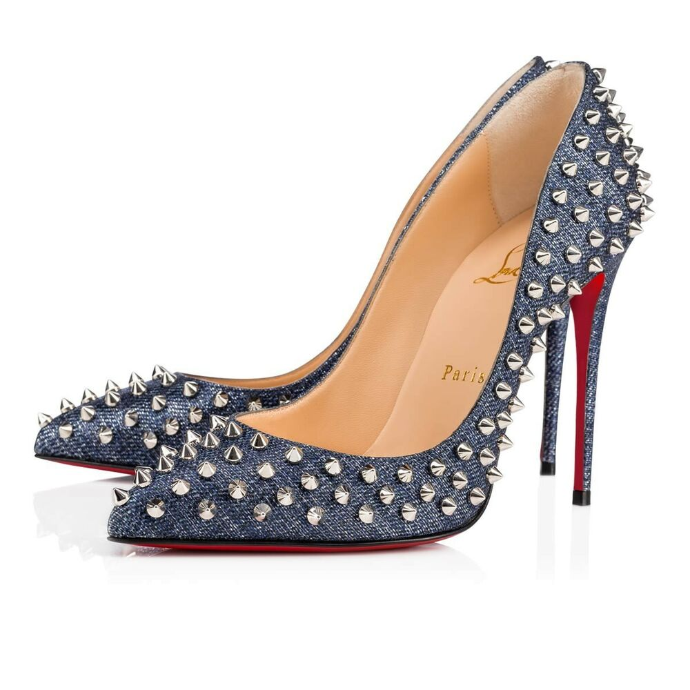 bf6fe2aee0b2 Details about NIB Christian Louboutin Follies Spikes 100 Denim Blue Lux  Pigalle Heel Pump 38.5