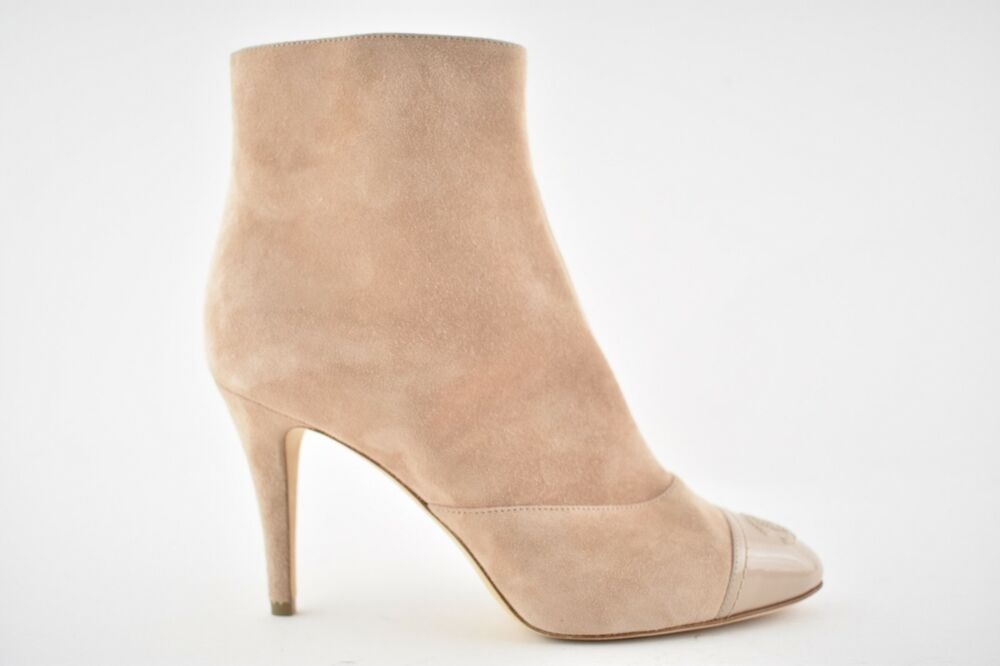 008c6a48a0a5 Details about NIB Chanel 18C Pink Beige Suede Patent CC Cap Short Ankle  Heel Boot Bootie 39.5