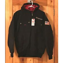 NEW Snap on Tools Men's Black Winter Coat Hooded Jacket Gray/Silver Embroidered
