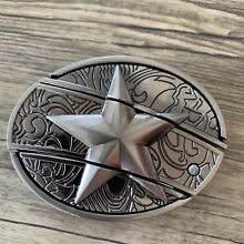 Knife Star 3d Belt Buckle REMOVABLE Western Cowboy SILVER HIGH QUALITY rodeo men