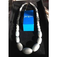 New Jay King Moss Quartz Necklace With Sterling Silver Findings- 28 Inches Long