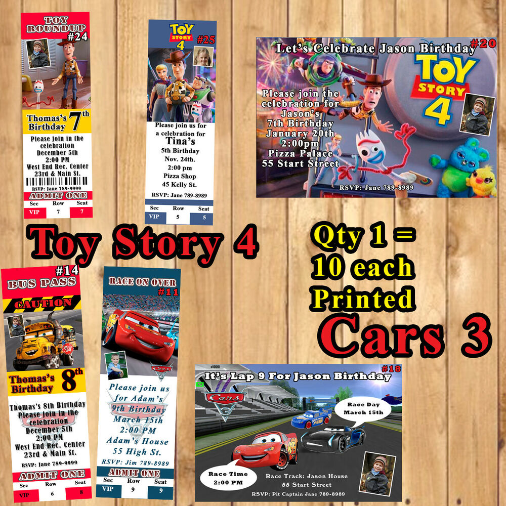 Details About Personalized Cars 3 Or Toy Story Birthday Invitations 10 Ea With Envelopes