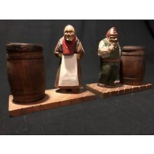 Vintage Old Man & Woman Hand Carved Wooden Figures - From 1940's