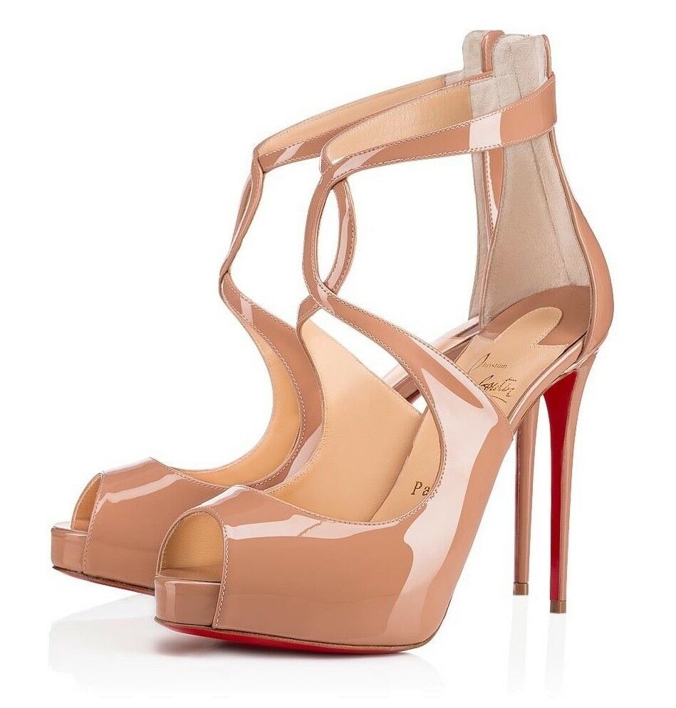 cef8e35bfedf Details about Christian Louboutin Rosie 120 Nude Patent CrissCross Strap  Sandal Heel Pump 38.5