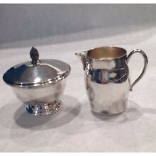 Paul Revere Reproduction FB Rogers Silver Plate Sugar Bowl with Lid and Creamer