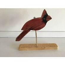FOLK ART HAND CARVED & PAINTED CARDINAL PERCHED ON A STAND 1950 Very Good Cond