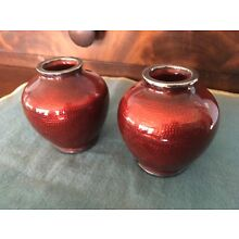 Antique Pair Asian silverplate enamel Miniature Vase Pigeon Blood Red