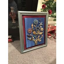 Framed Vtg Jewelry Art Picture~Rhinestones/Brooches/Christmas Flowers Bouquet