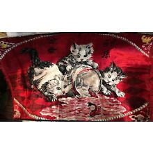 1930s TAPESTRY OF THREE LITTLE KITTENS~Up To No Good!~Aren't They Cute? 35 x 22""