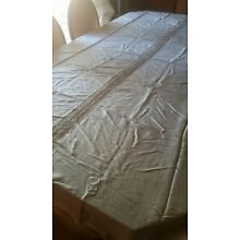 Elegant Vintage Beige Silk Bed Cover with lace Insert In The Center 60
