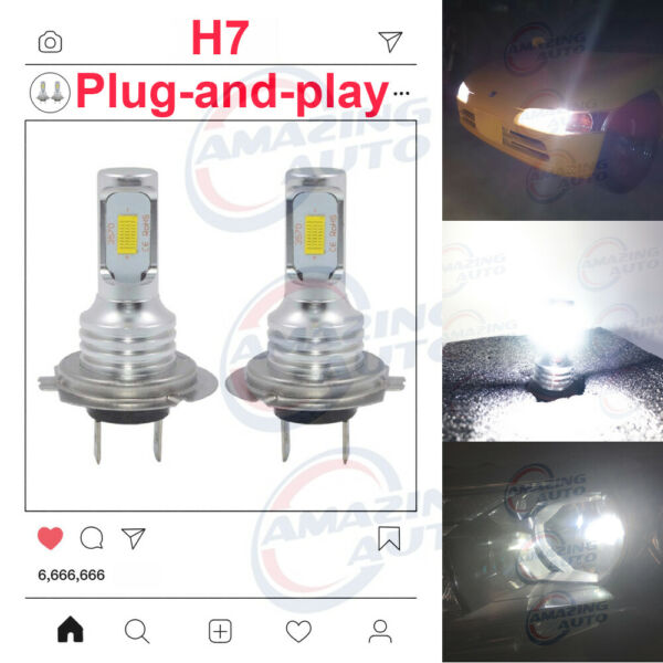 NEW 2x H7 6000K Super White 8000LM CREE LED Headlight Bulbs Kit High Low Beam
