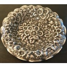 George Shiebler Sterling Silver Floral Repouse Dish, Unmonogrammed, 7.5