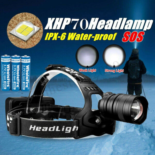 200000LM XHP 50 LED Headlamp Zoom USB Rechargeable 18650 Headlight Super Bright