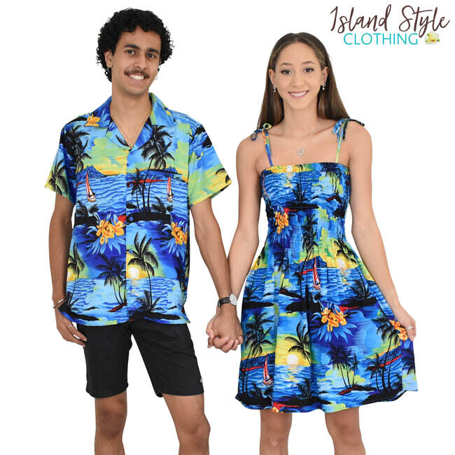 35a09c2721d1 Details about Blue Sunset Tube Dress & Mens Hawaiian Shirt Couple Set