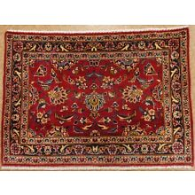 Persian Kashann Hand Knotted Wool RED NAVY BLUE Oriental Rug 2.5 x 3.5