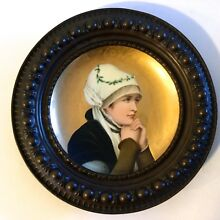 ANTIQUE HAND PAINTED PLATE-CHARGER FROM 19 CENTURY FRANCE,ORIGINAL FRAME,BEAUTY.