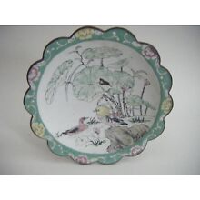 Chinese Canton Enamel Stem / Pedestal / Footed Shallow Bowl Tazza