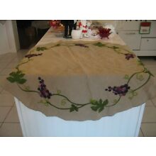 Beautiful Vintage Embroidered Society Silk Table Centerpiece Doily With Grapes