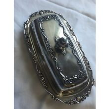 Vtg 1883 B. Rogers Silverplate 1096 Butter Dish W/ Lid Antique Silver