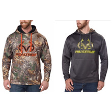 REALTREE Men's Fleeced Lined Pullover Hoodie with Antlers Camo or Gray