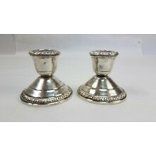 Pair (2) Crown Weighted Sterling Silver Candle Sticks Holders NICE! Matched Pair