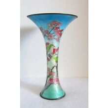 Gorgeous Antique Signed Japanese Enamel Cloisonne Vase w/ Birds Flowers