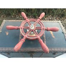 Vintage Antique 1930s Original Paint Metal & Wood Nautical Ships Wheel maritime