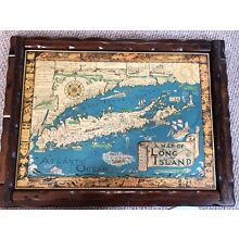 A Map Of Long Island Courtland Smith 1961 Mounted Wood Finish Original
