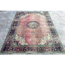 1960's ANTIQUE Persian HERIZ 7'X9' Handknotted 100% Wool WORN Pile Rug TB-13