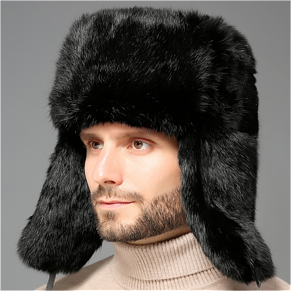 Details about Men s Real Rex Rabbit Fur Trapper Hat Natural Fur Winter Warm  Ski Outdoor Cap 274b7f40233