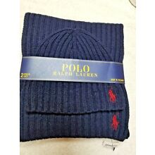 NEW - POLO RALPH LAUREN MEN'S HAT & SCARF 2 PC SET - NAVY BLUE - RETAIL $99 -NEW