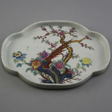 China old hand-carved porcelain famille rose bird & flower pattern tea tray