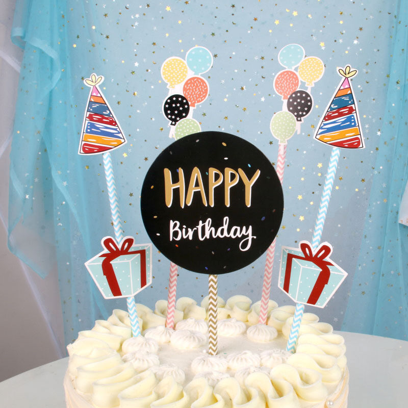 Details About PureArte Cute Happy Birthday Cake Topper For Kids And Adult Party