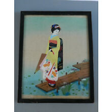 Antique Japanese  Watercolor Painting On Cloth signed