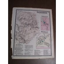 1870 Map of Leicester Massachusetts F.W. Beers Atlas