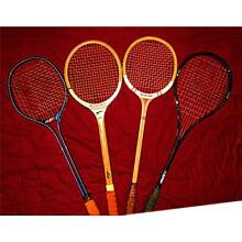 LOT OF 4 VINTAGE SQUASH RACQUETS IN VERY GOOD, PLAYABLE CONDITION