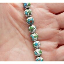 12 VINTAGE CHINESE ROUND BLUE WHITE CLOISONNE BEADS 8mm***FREE SHIPPING***