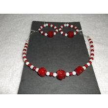 Custom Jewelry Red Coral Shell with White Beads Necklace and Matching Earrings