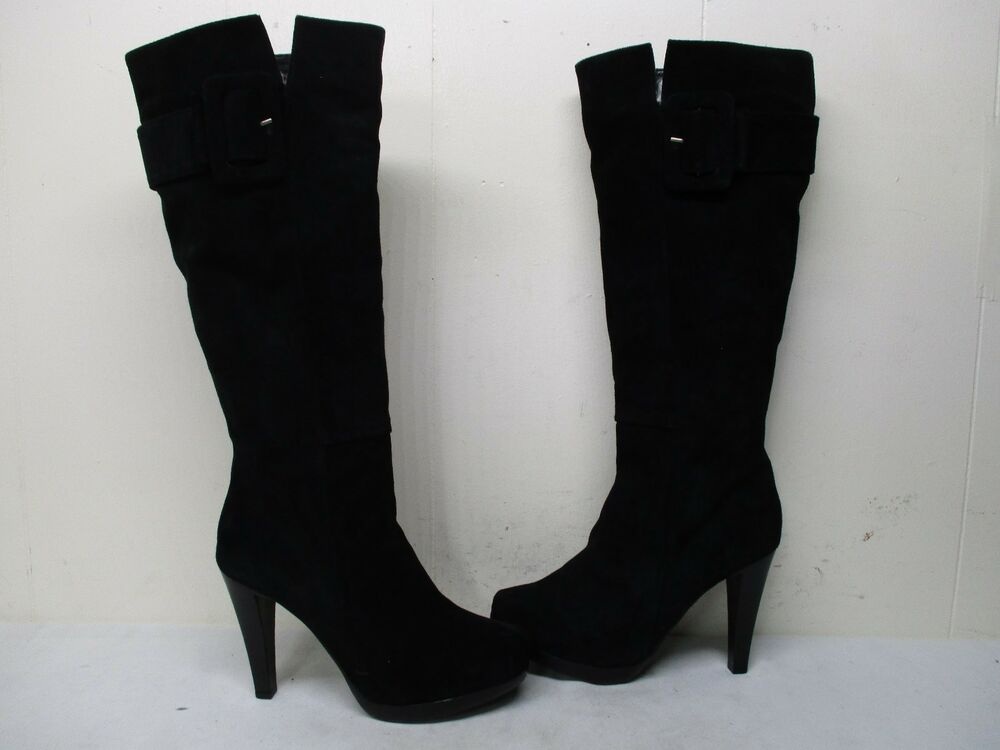 Type Z Black Suede Leather Knee High Boots Womens Size 95 -2867