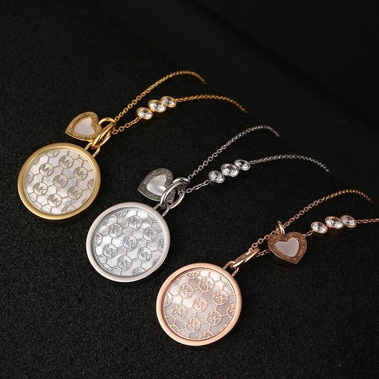 4179616cc7f540 Details about Michael Kors MONOGRAM MK Mother of Pearl Disc Necklace  ROSEGOLD with Dust Bag