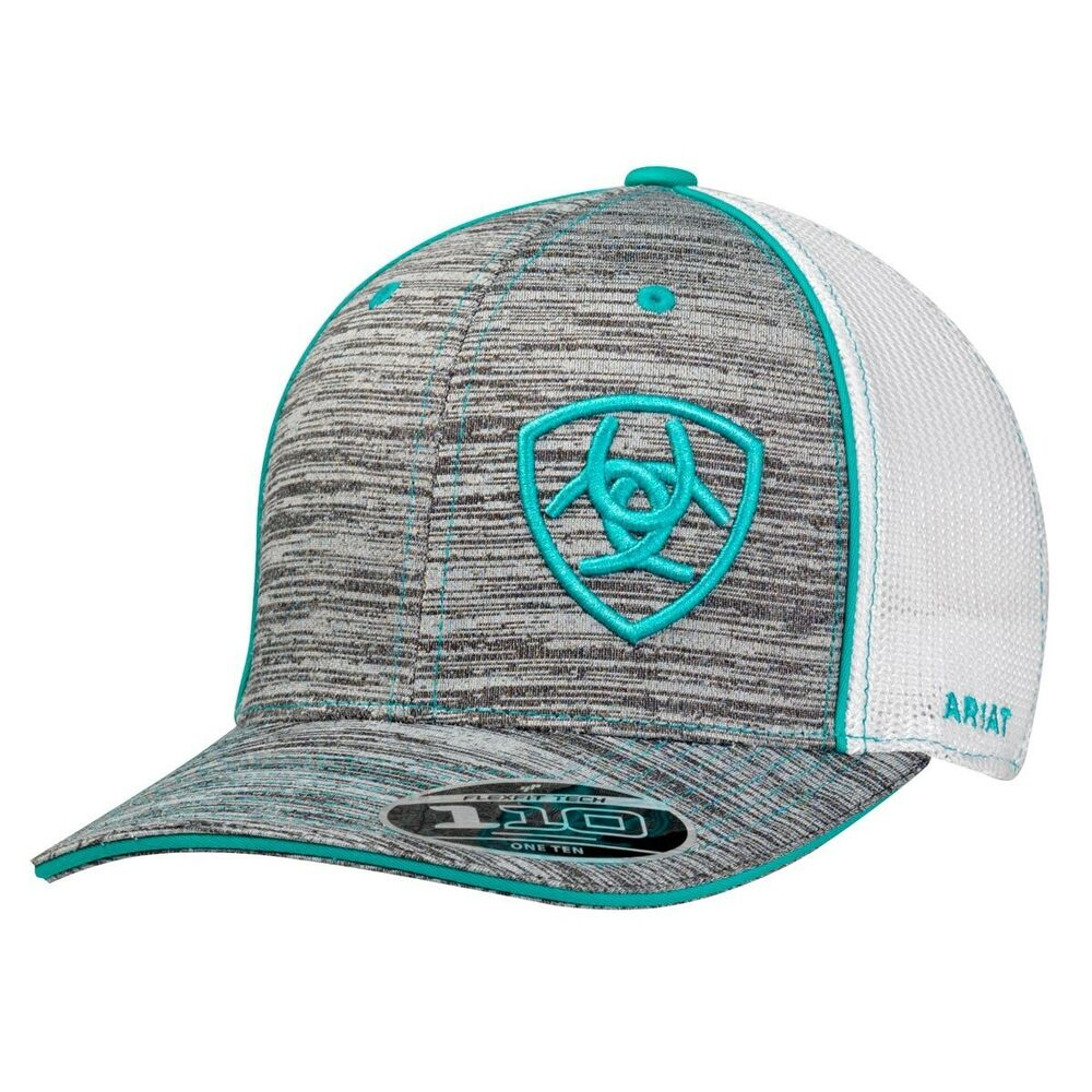 5aec57d0 Details about Ariat Men's Heather Gray White Turquoise Shield Logo Trucker  Cap 1504933